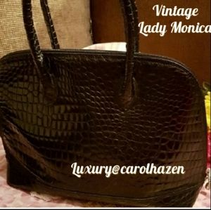 Vintage Lady Monica Croc Leather Weekender Travel